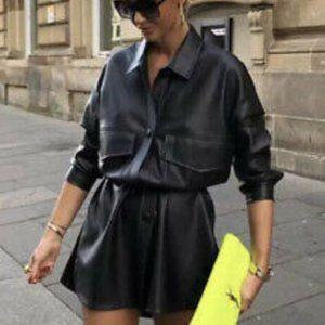 Zara Faux Leather Belted Shirt Jacket